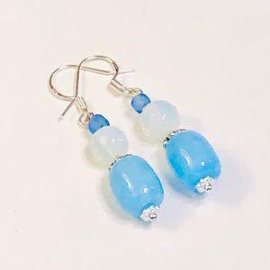 Light Blue Agate & Opalite Crystal Earrings